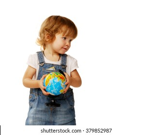beautiful little girl in the age of two years holding a globe