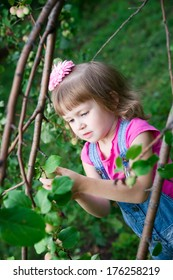Beautiful little girl in apple.