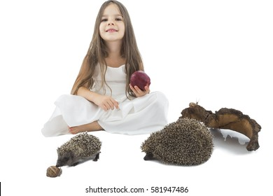 Beautiful little girl with  apple beside family of hedgehogs