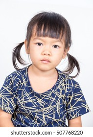 beautiful little girl Asia blue shirts isolated on a white background