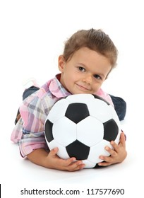 beautiful little girl with ball isolated on white