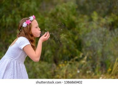 Beautiful  little girl blowing dandelion. Portrait adorable little kid outdoor. Summer or Autumn. Harvest. Shavuot.