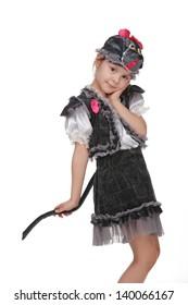 Beautiful little girl in a bright fancy dress