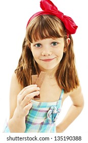 Beautiful little girl with chocolate. Isolated on a white background