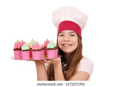 beautiful little girl cook with muffins dessert