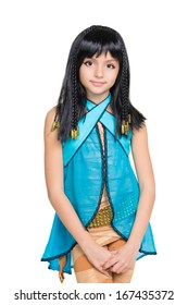 Beautiful little girl dressed in Cleopatra suit. Isolated on white