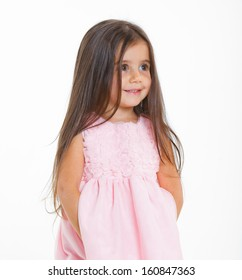 Beautiful little girl happy smiling on studio. Isolated white background
