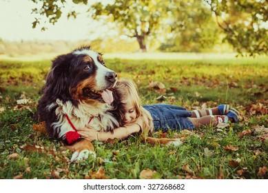 Beautiful little girl with her dog, autumn. Bernese Mountain Dog