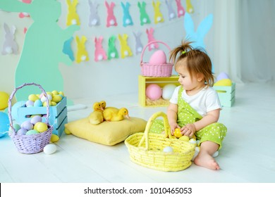 beautiful little girl holding an Easter basket, easter concept