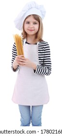 Beautiful little girl holding spaghetti isolated on white