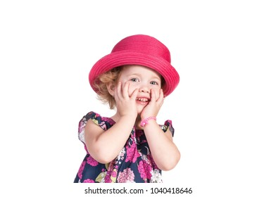 beautiful little girl isolated on a white background.