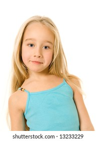 Beautiful little girl isolated on white background