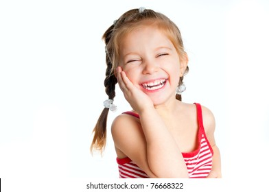 beautiful little girl isolated on a white background