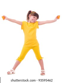 Beautiful little girl with orange on white background