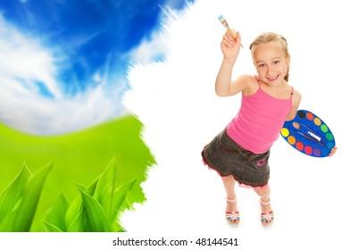 Beautiful little girl painting nature landscape