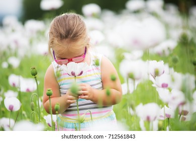 Beautiful little girl with pair of glasses on a meadow