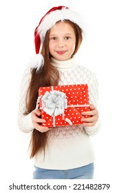 Beautiful little girl with present box isolated on white