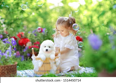 beautiful little girl with red hair in a white retro pajamas bathes and washes a white young Samoyed puppy in a wooden tub on a background of beautiful nature