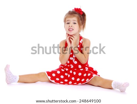 Beautiful Little Girl Sitting Legs Spread Wide Isolated On White Background Lotus Childrens Center