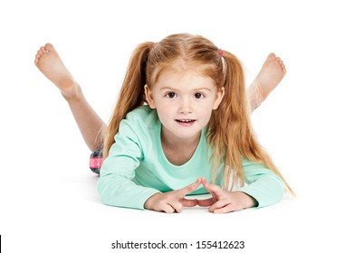 Beautiful little girl smiling to camera. Isolated on studio white background.