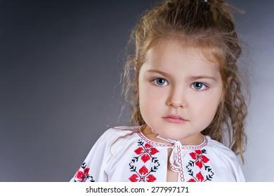 Beautiful little girl in ukrainian dress