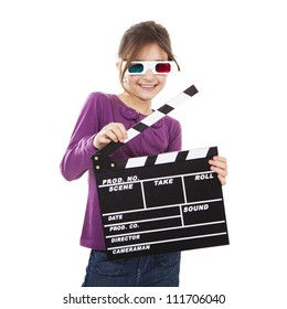 Beautiful little girl wearing 3d glasses and holding a clapboard, isolated over a white background