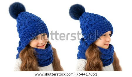 83fafef91b7b84 Beautiful little girl in winter warm blue hat and scarf isolated on white.  Children winter