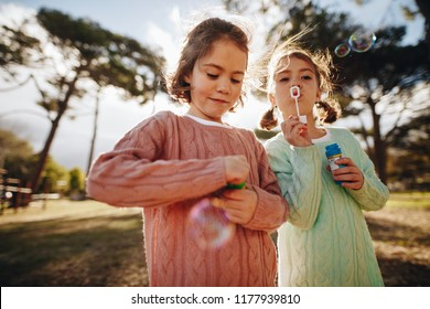 Beautiful little girls playing with bubbles at the playground. Cute twin sisters blowing soap bubbles outdoors.