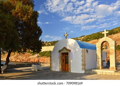 Beautiful little Greek chapel at sunset on the island of Crete - Greece.