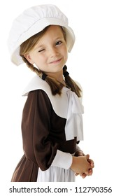 "A beautiful little ""pilgrim"" winking at the viewer.  On a white background."