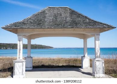 beautiful little rustic pavilion on old mission peninsula in traverse city Michigan on lake Michigan grand traverse bay