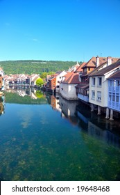 Beautiful little town at the Loue river in France