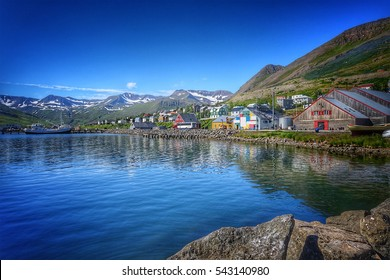 beautiful little town Siglufjordur in northern Iceland on a sunny day