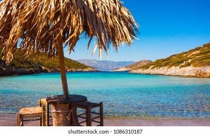 Beautiful Livadaki beach on Samos, Greece. Travel concept