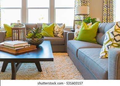 Beautiful Living Area with Coffee Table and Couch of New Home.
