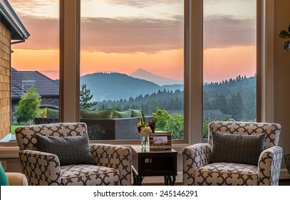 Beautiful Living Room Detail with Sunrise View in New Home