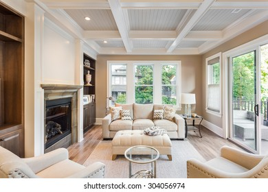 Beautiful living room with hardwood floors and  in new luxury home