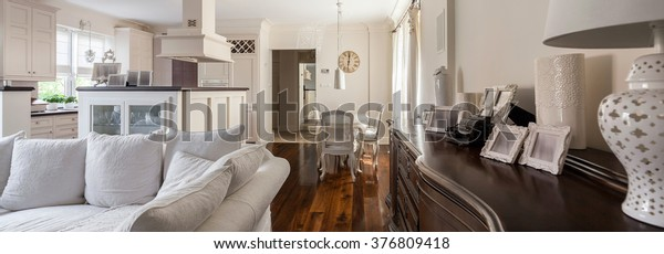 Beautiful living room with light kitchenette