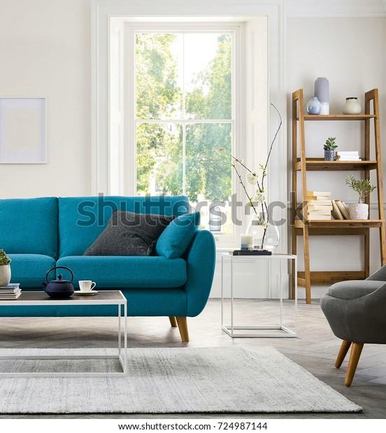 Photo de stock de Bel salon avec canapé moderne (modifier ...