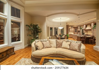 Beautiful living room in new luxury home with view of kitchen, high end amenities, and hardwood floors