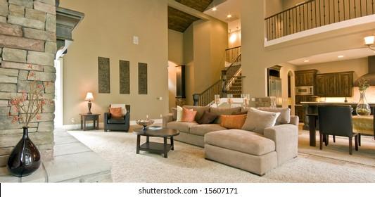 Beautiful Living Room Panorama in Modern Home