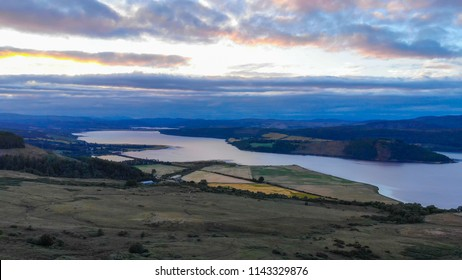 Beautiful Loch Shin in Scotland - aerial view in the evening