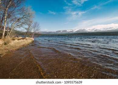 Beautiful loch in a sunny day in Aviemore, Scotland.