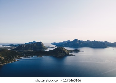 Beautiful Lofoten landscape view in midnight sun time, Norway