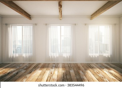 Beautiful loft interior design with windows, brown parquet and curtains. 3D Render