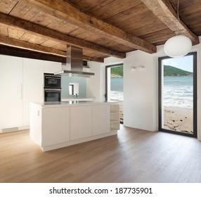 beautiful  loft, view domestic kitchen, modern furniture