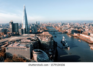 Beautiful London aerial view with Shard skyscraper by the river Thames.