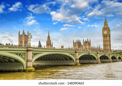 Beautiful London architecture. Houses of Parliament and Westminster bridge.