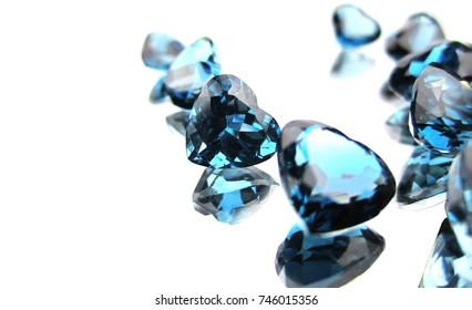 Beautiful london blue topaz gemstone on white background
