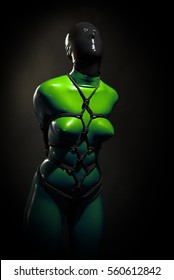 Beautiful Loneliness Bondage SlaveGirl BDSM for Play wearing Latex Rubber Catsuit Zentai